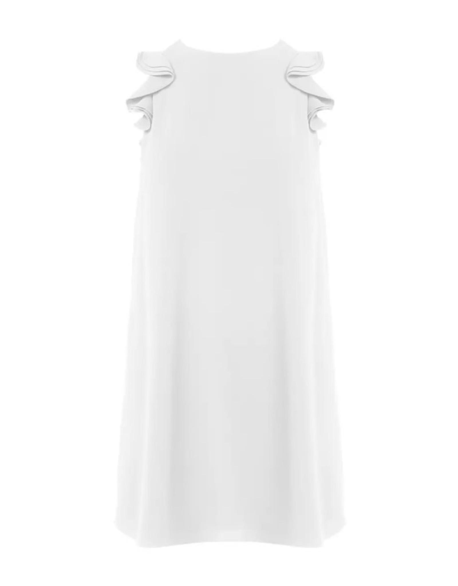 Flutter Sleeve Dress - White