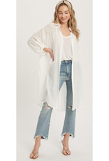 Vented Longline Shirt Top - Ivory