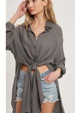 Vented Longline Shirt Top - Slate