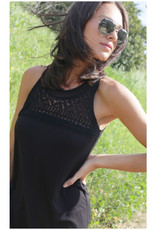 Crocheted Lace Front Sleeveless Top