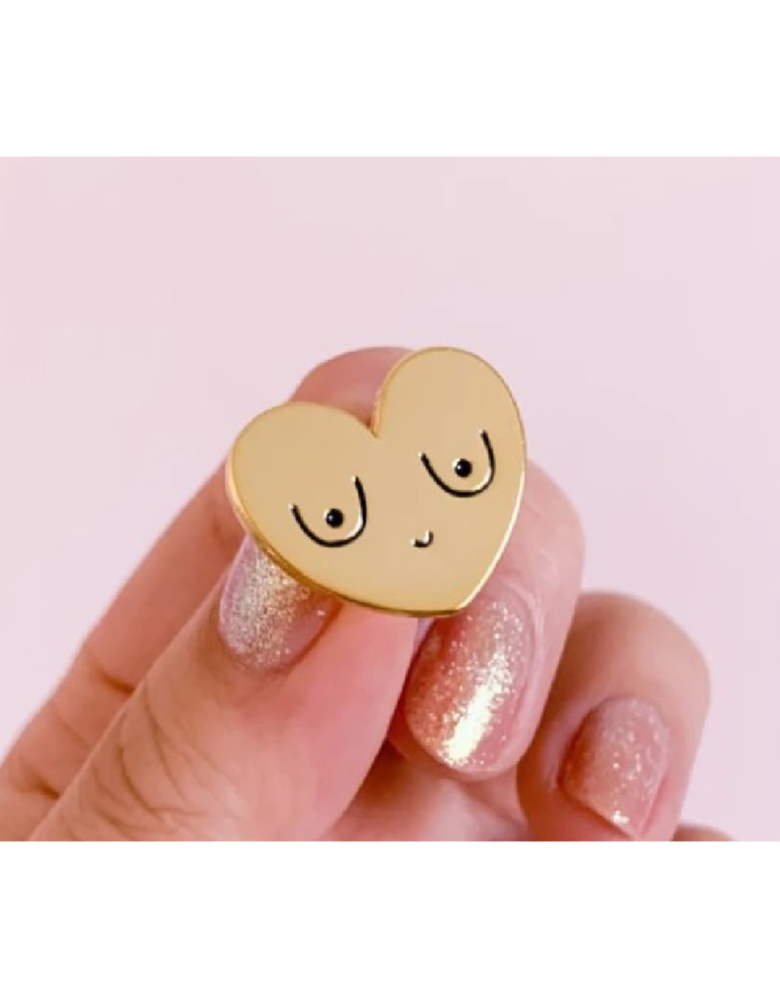 """Happy Boobs"" Rose Gold Enamel Pin"