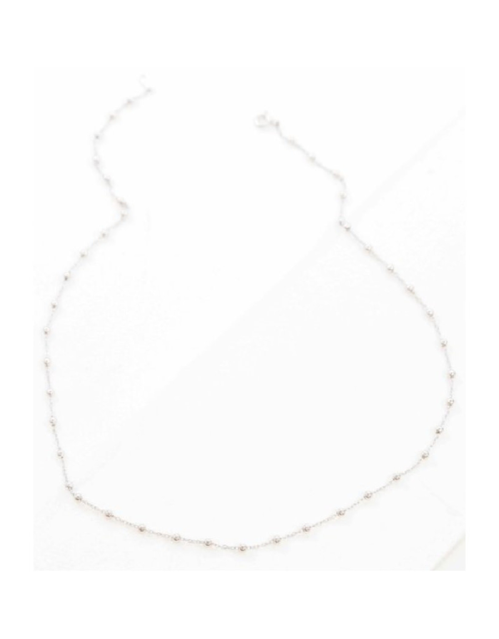 Mini Beaded Necklace - Silver