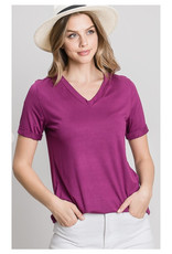 V-Neck Tee with Cuffed Sleeves