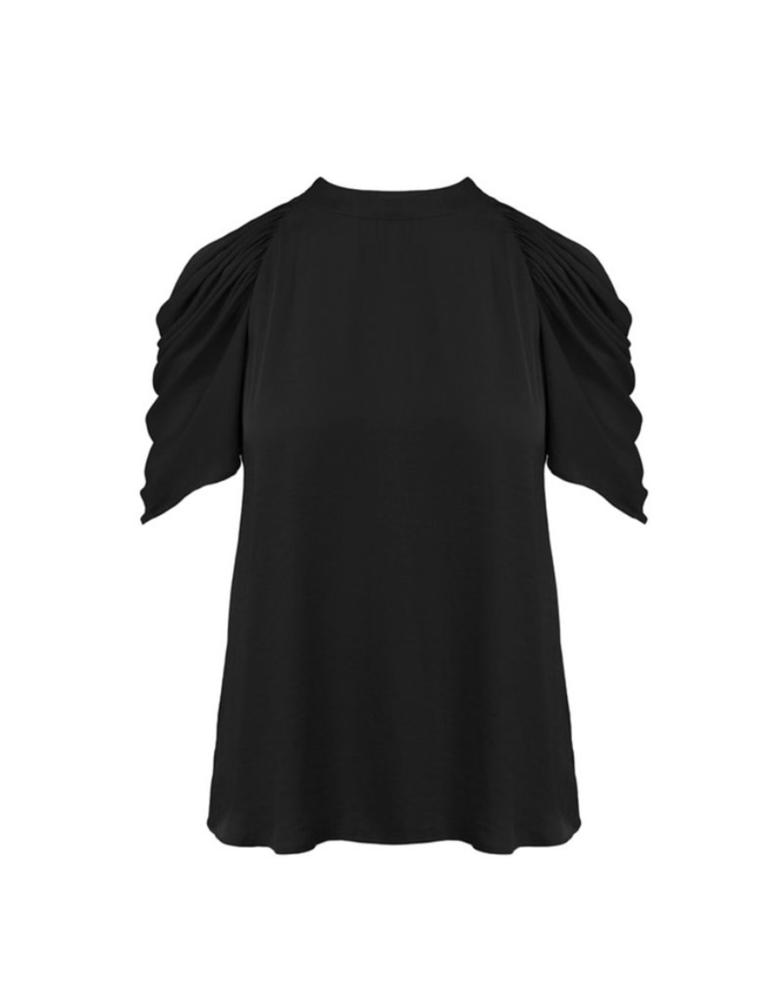 Ruched Sleeve Top with Key Hole Back