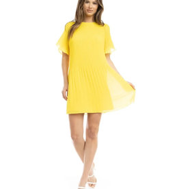 Short Sleeve Pleated Mini Dress - Lemon Crush