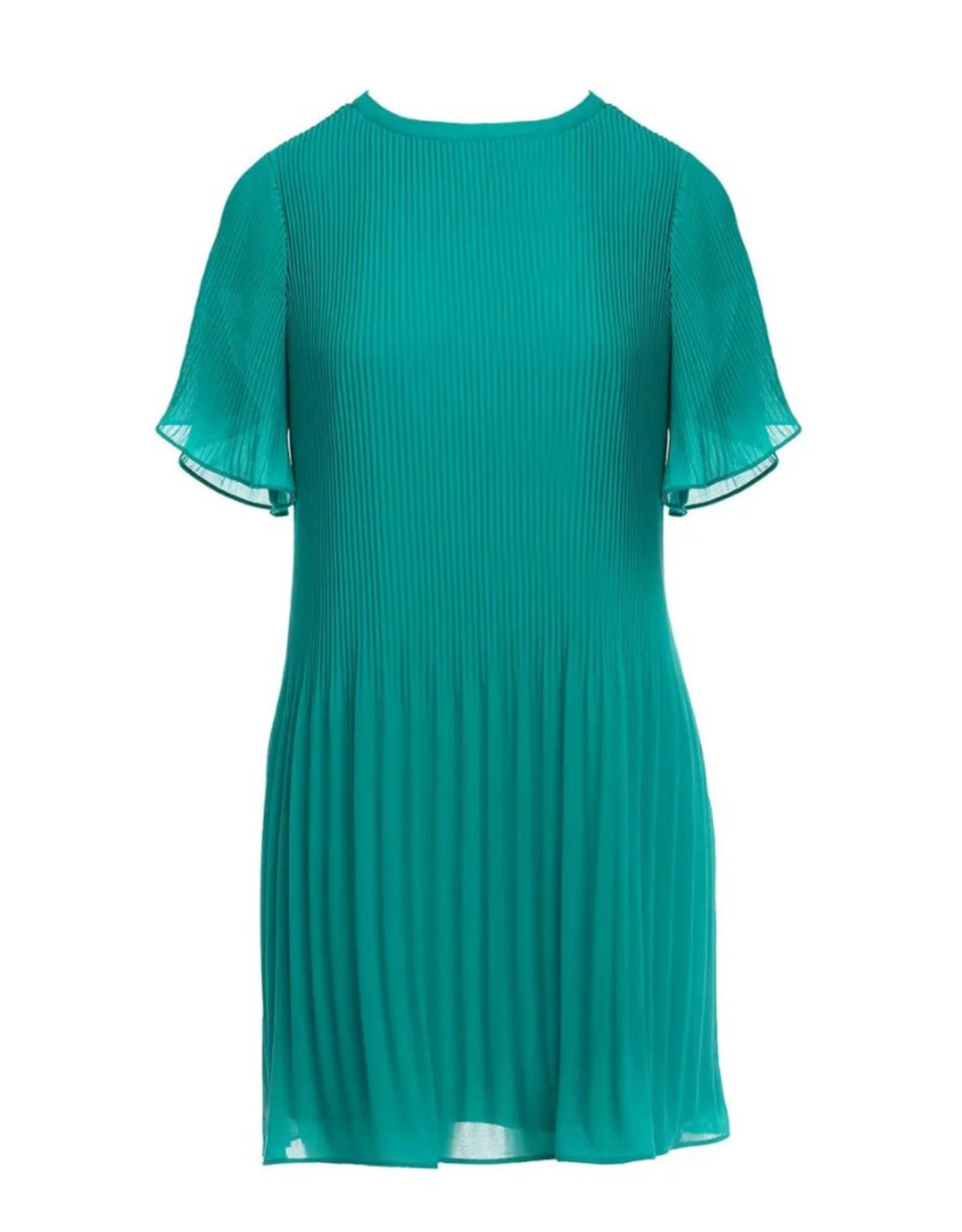 Short Sleeve Pleated Mini Dress - Spectra Green