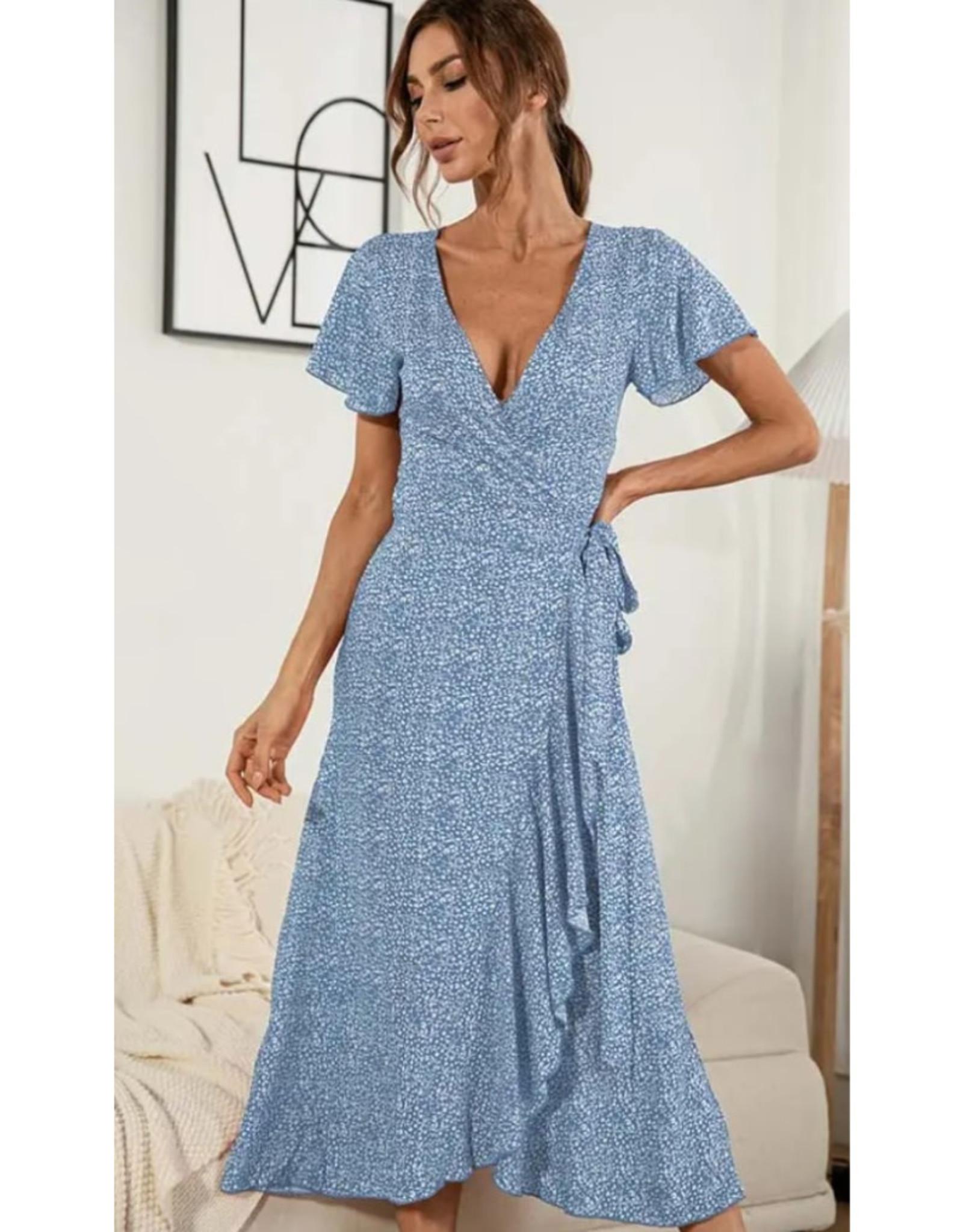 Floral Print Wrap Midi Dress - Blue