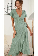 Floral Print Wrap Midi Dress - Sage Green