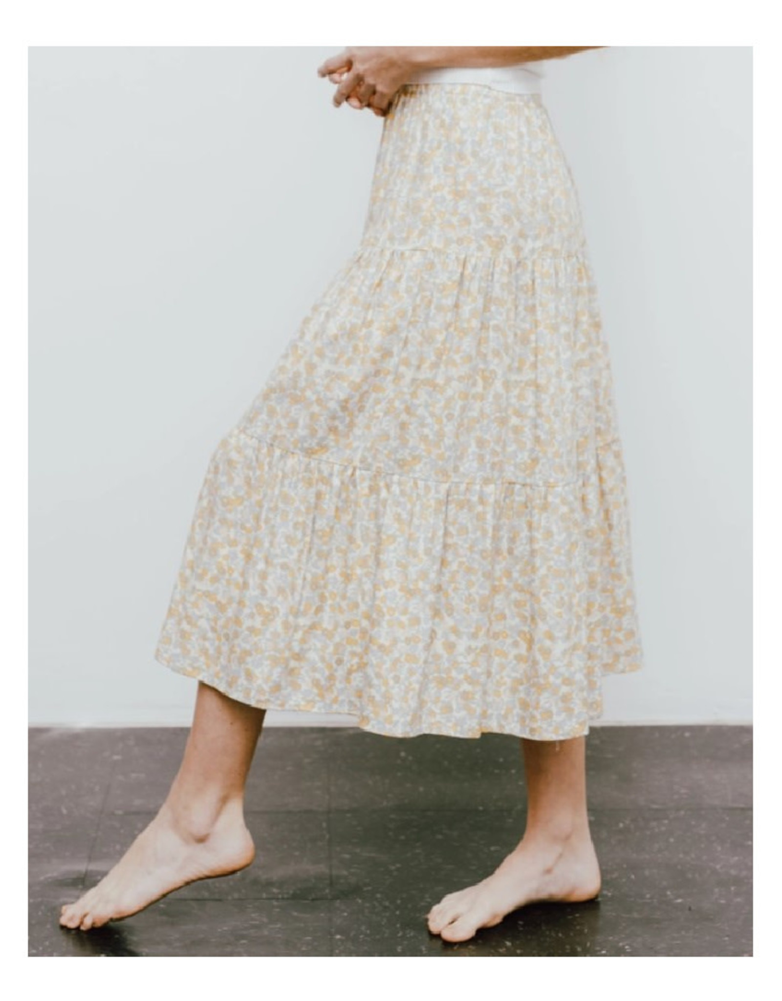 Tiered Ditsy Print Peasant Skirt