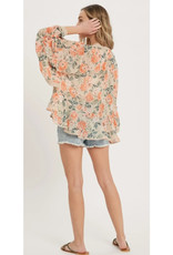 Floral Kimono with Ruffled Sleeves