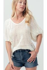 Puff Sleeve Cutout Knit Top