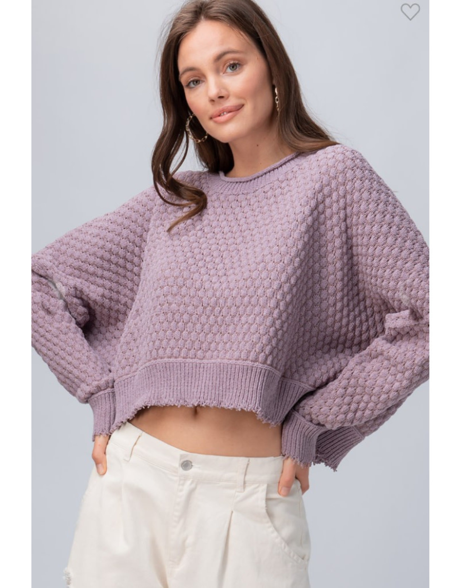 Popcorn Knit Sweater with Dolman Sleeves - Lavender
