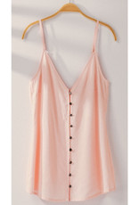 Button Front Cami with Adjustable Straps - Pink