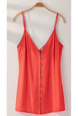 Button Front Cami with Adjustable Straps - Red