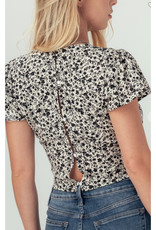 Vintage Floral Cropped Top with Flutter Sleeves
