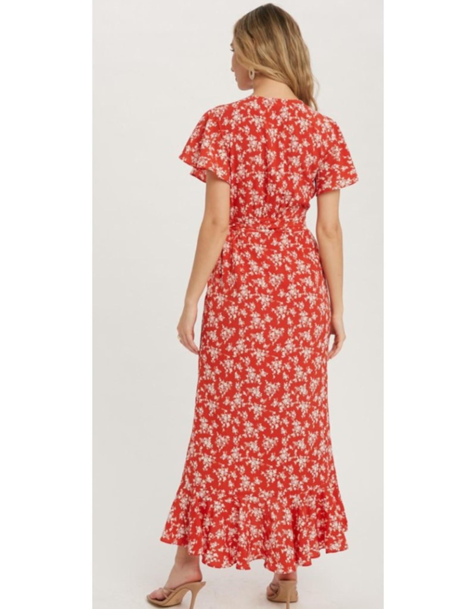 Ditsy Floral Wrap Dress - Tomato