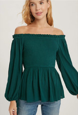 Smocked Front Top with Peplum