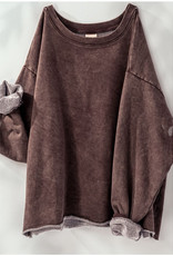 French Terry Cropped Sweatshirt in Brown