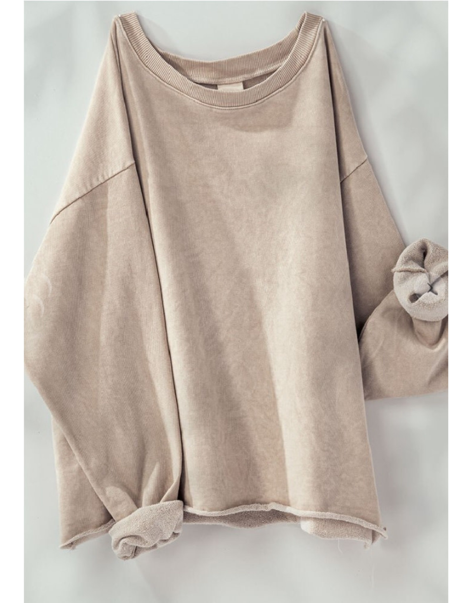 French Terry Cropped Sweatshirt in Taupe