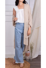 Oversize Knit Cardigan with Pockets in Cream