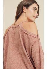 Soft Cold Shoulder Top in Brick