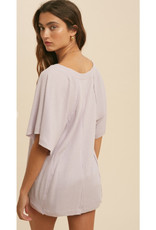 Henley Top with Flutter Sleeves in Lavender