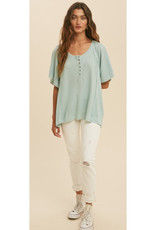 Henley Top with Flutter Sleeves in Sage