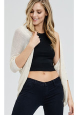Open Cardigan with Elbow Length Sleeves