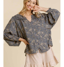 Floral Print Top with Smocking