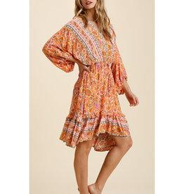 Ruffle Trim Keyhole Dress in Tangerine