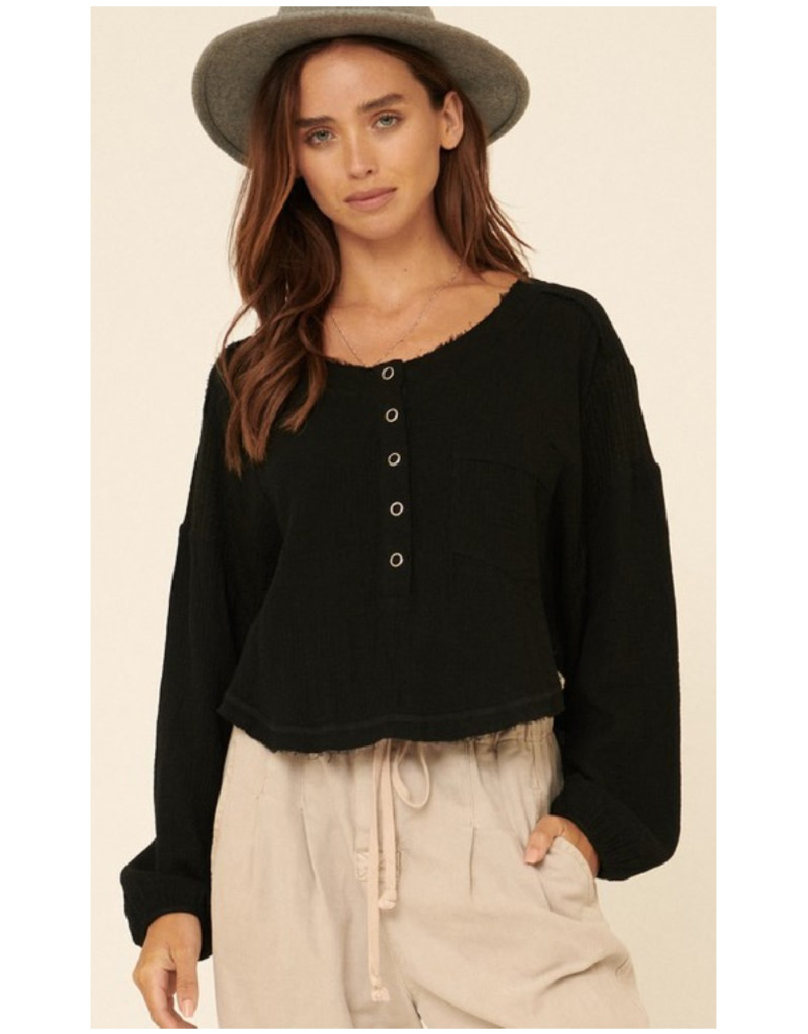 Crinkle Cotton Henley