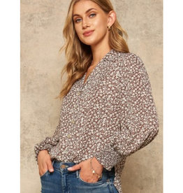 Floral Print Top with Pearl Buttons