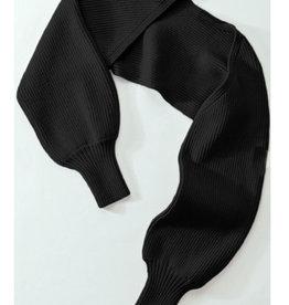 Rib Knit Long Sleeved Slip-On Shrug in Black