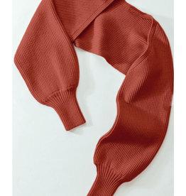 Rib Knit Long Sleeved Slip-On Shrug in Rust