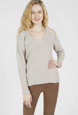 V-Neck Sweater in Heather Cashew