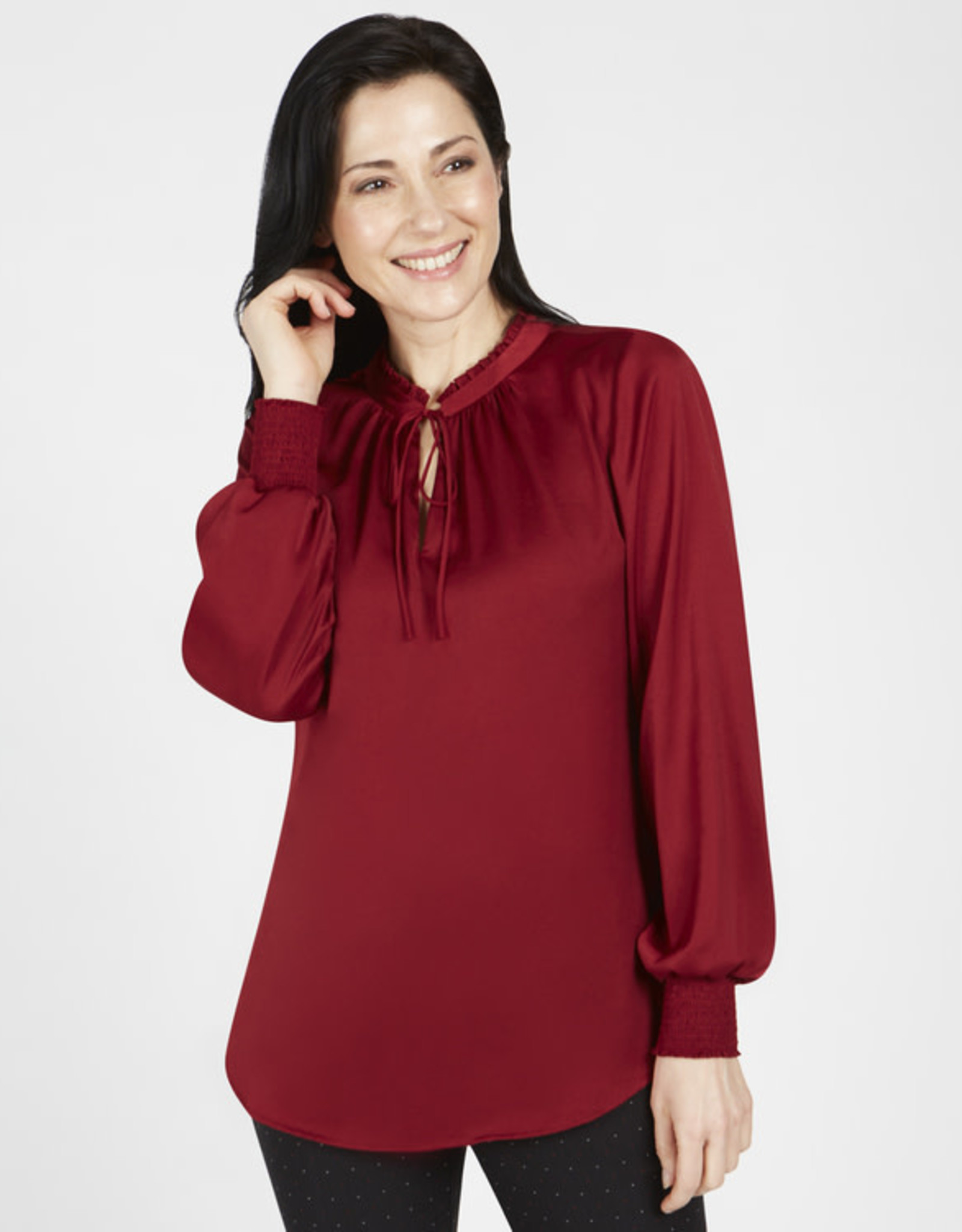 Gathered Neck Top in Red