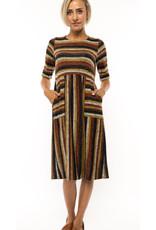 Striped A-Line Midi Dress