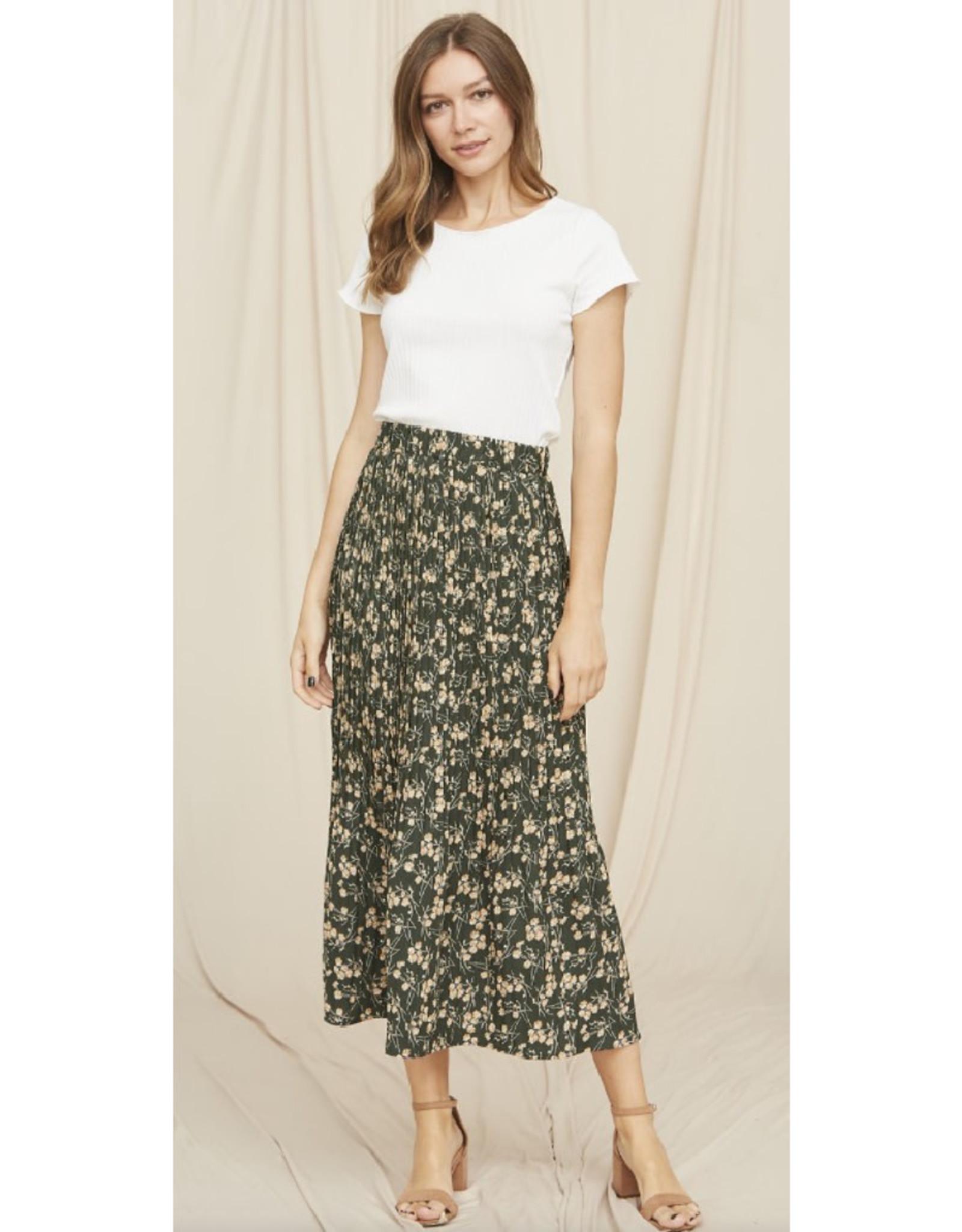 Floral Pleated Midi Skirt 95