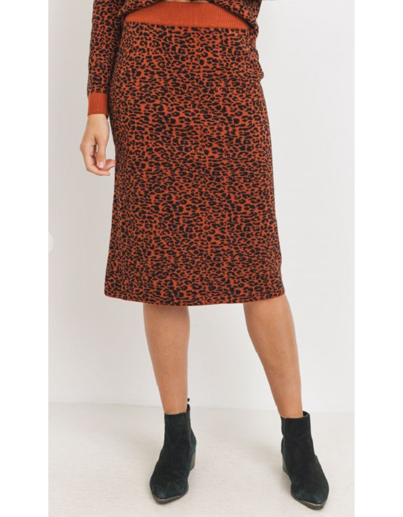 Leopard Print Sweater Skirt