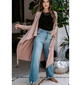 Waterfall Front Long Cardigan in Dusty Mauve