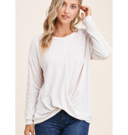 Twist Front Top with Lace Sleeve Trim