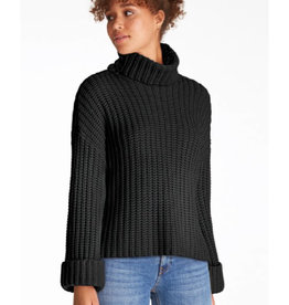 Wide Sleeve Turtleneck Sweater in Black