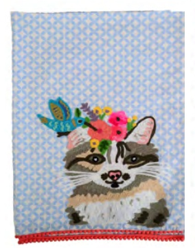 Cat Embroidered Tea Towel