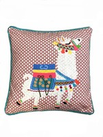 Llama Embroidered Pillow