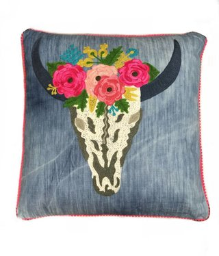 Denim Floral Skull Pillow