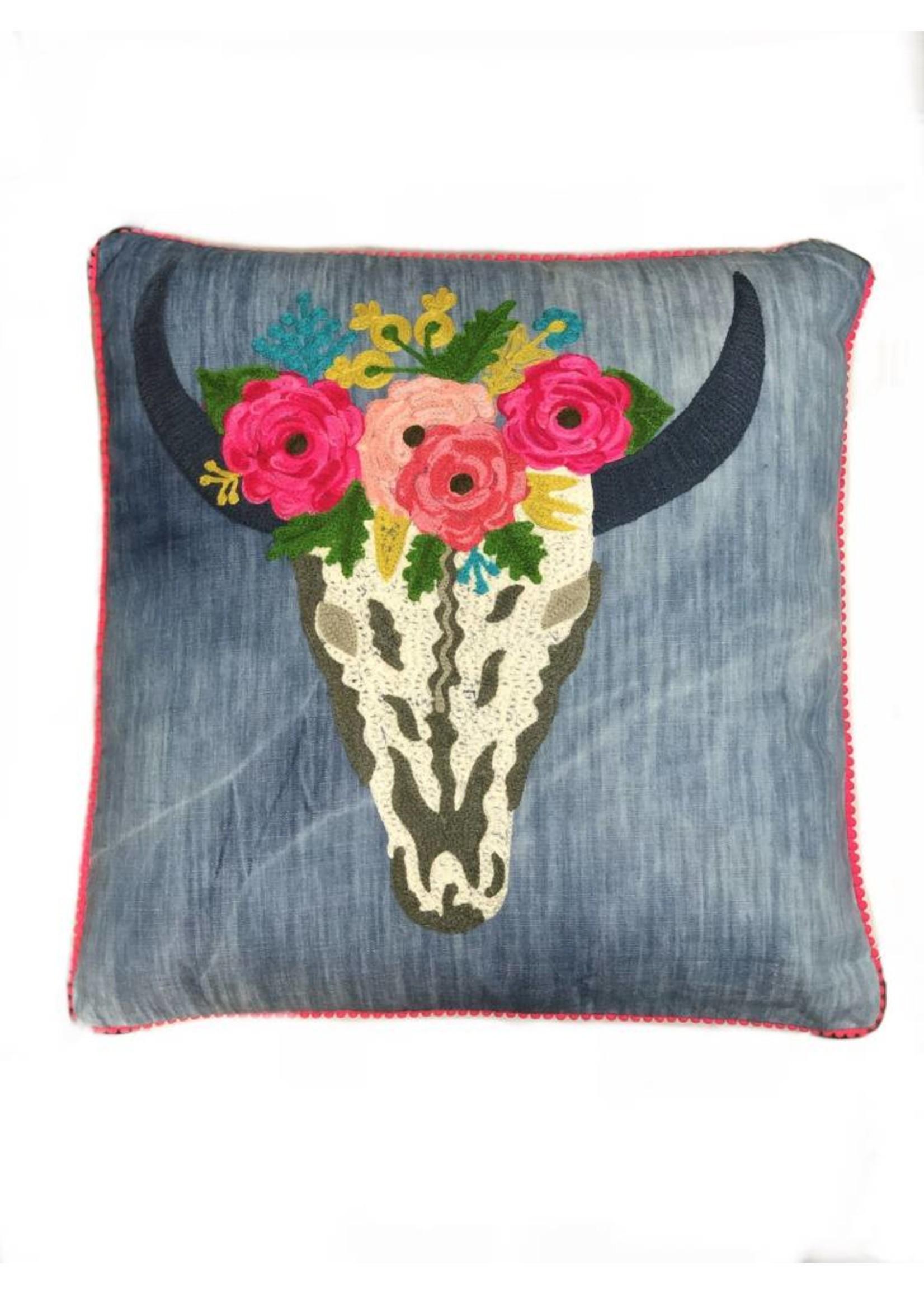 Denim Floral Skull Pillow