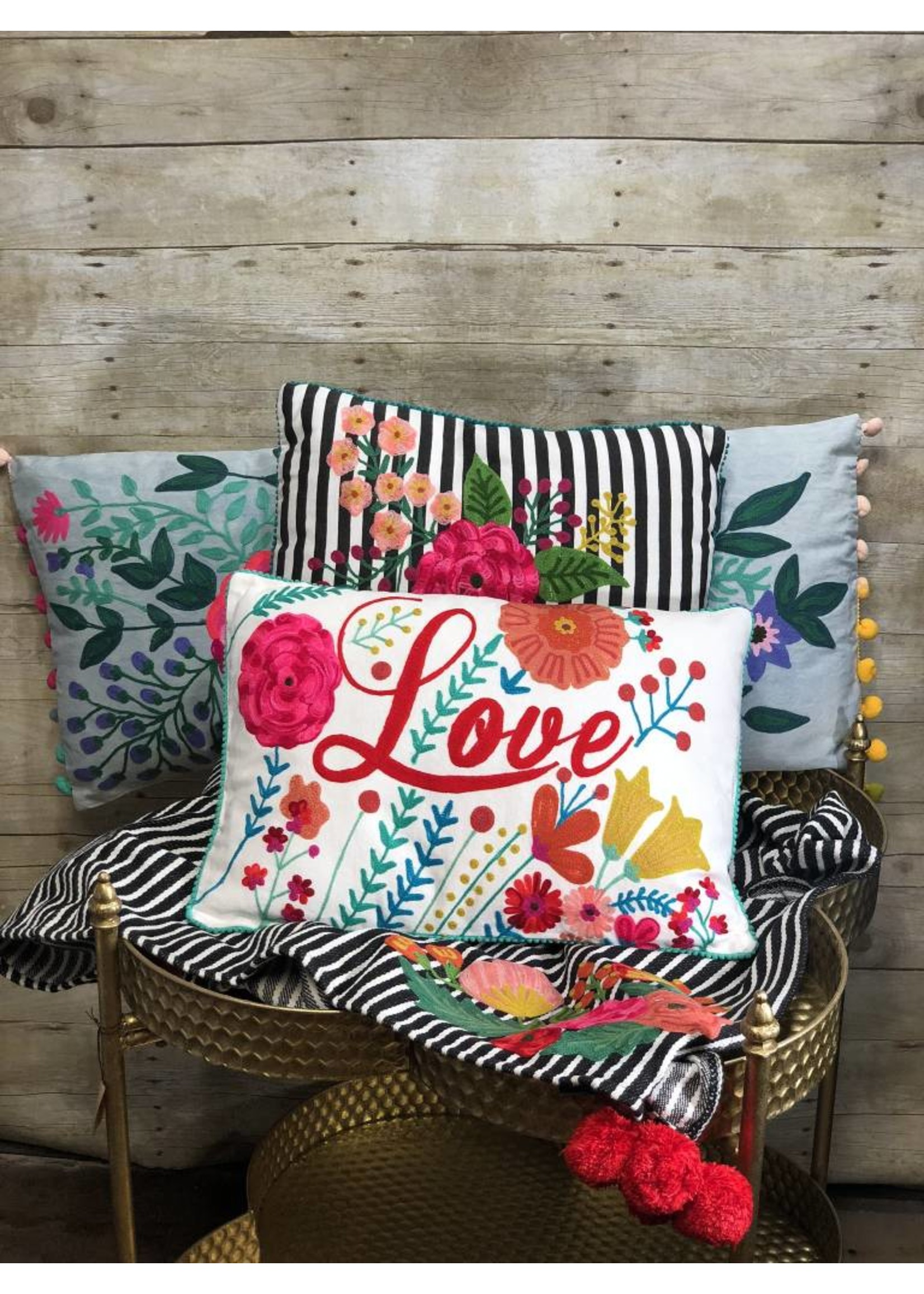 Striped Floral Embroidered Pillow