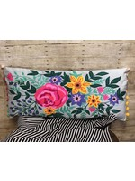 Long Denim Floral Embroidered Pillow
