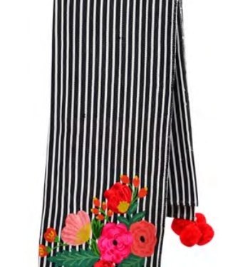 Striped Floral Embroidered Throw