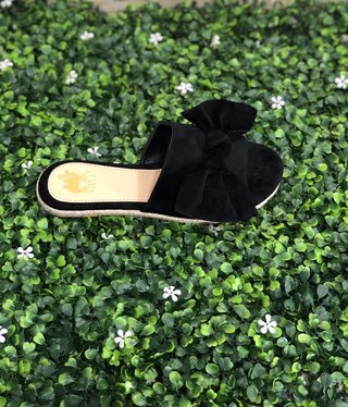 Black Bow Slide Sandal